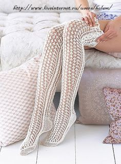 Вязание крючком и спицами/Crochet and knitting: Ажурные гольфы(спицы)