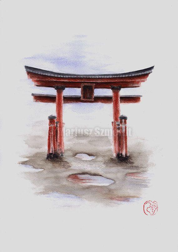 torii gate drawing - 566×800