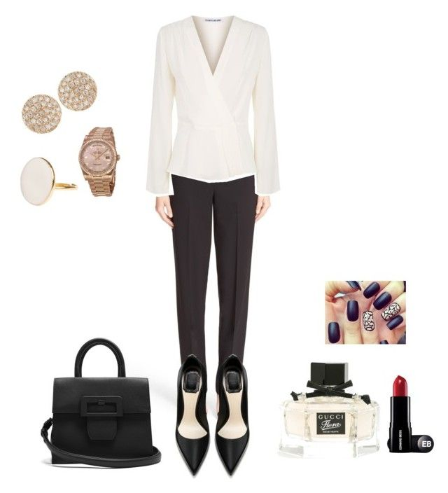 """Work"" by ingridlundevall on Polyvore featuring St. John, Elizabeth and James, Dana Rebecca Designs, Rolex, Gucci and Maison Margiela"