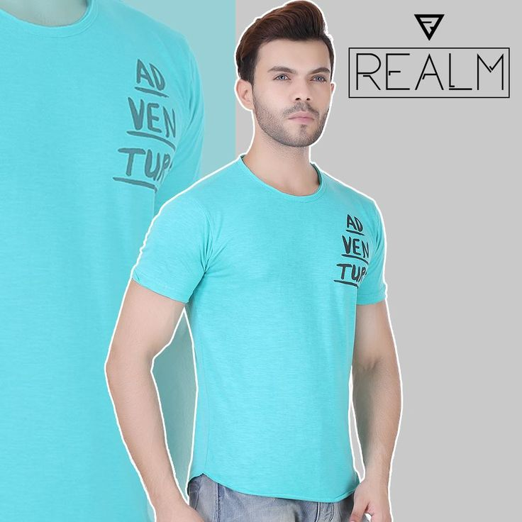 Fall in love with the soft texture wearing cyan coloured regular-fit T-shirt by REALM Clothing. Your skin will love the feel of this T-shirt as it is fashioned using the material that is famous for comfort ??? cotton. Team this T-shirt with distressed jeans and leather sandals for a relaxed and cool look.😎👕👕