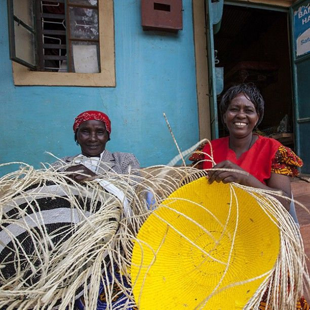 Weaving big Mifuko Kiondo baskets.