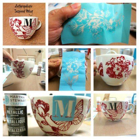 32 Brilliant Anthropologie knockoff DIY projects - Pictured; Anthro Inspired Mug made with Martha Stewart Glass Paints