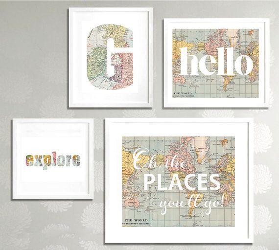 Vintage Wall Decor For Nursery : Printable gallery nursery wall art set map world travel