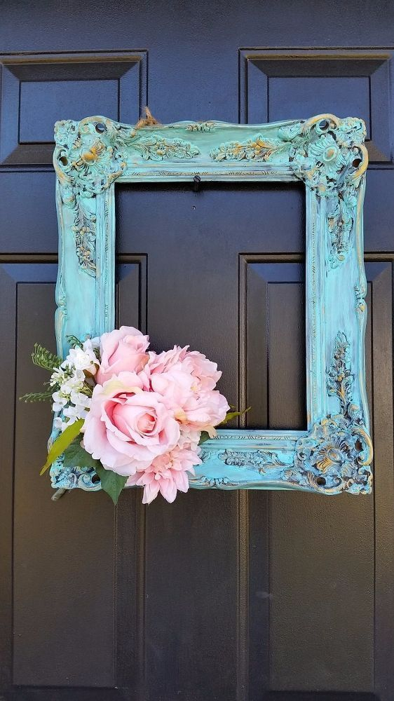 DIY Spring Picture Frame and Flowers Wreath - Something Old, Something New via hometalk