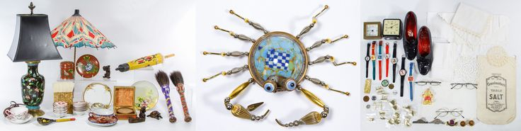 Lot 457: Asian Cloisonne, China and Parasol Assortment; Including a cloisonne table lamp, lidded jar, plate and brush handles, two parasols, small bowls, cups and saucers; together with a Cynthia Chuang and Erh-Ping Tsai Crab Pin, c.2006, made from porcelain and metal; together with a Gilbert alarm clock, a Chelsea brass clock, Mickey Mouse wrist watches, a miniature manicure set, a pair of women's vintage shoes, pins and linens