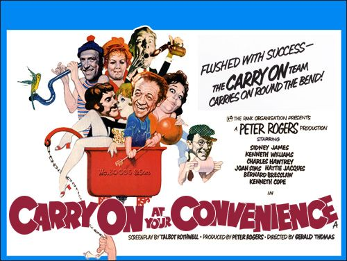 Carry On At Your Convenience 1971 British comedy film. Stars Sid James, Kenneth Williams, Charles Hawtrey, Joan Sims, Hattie Jacques, Bernard Bresslaw, Kenneth Cope, Patsy Rowlands, Jacki Piper and others.