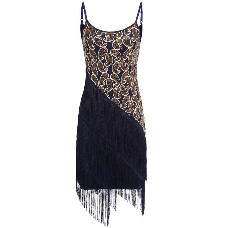 Women Lady O-Neck Sleeveless Strap Sequin Tassel Mini Casual Party Dresses