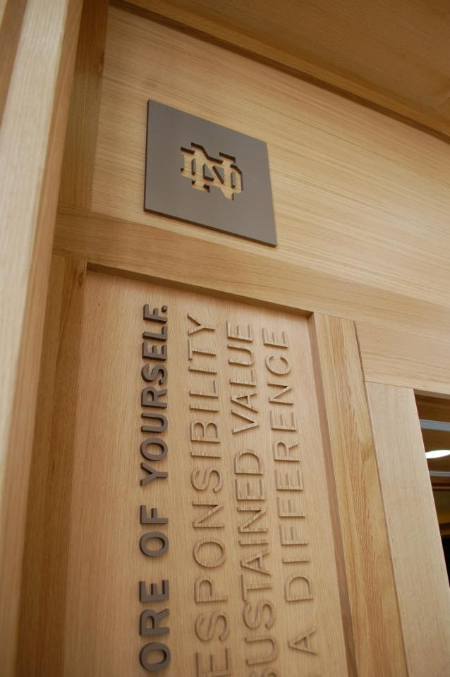 Wood Exhibit Panel, Lobby Portal, Wood/Metal Letters on Wood, Dimensional Letters, ND, Notre Dame, Theming, Business