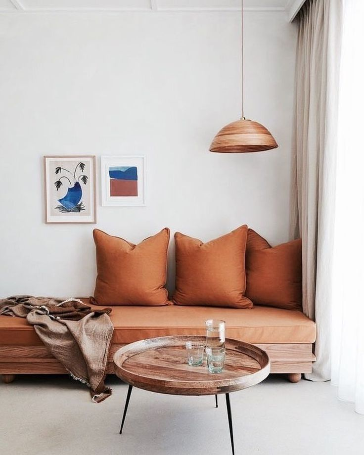 cozy nook with caramel hues