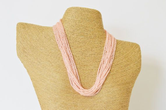 Light peach necklace, seed bead necklace, pink seed bead necklace, light coral necklace, wedding necklace, salmon, bridesmaid jewelry,gift
