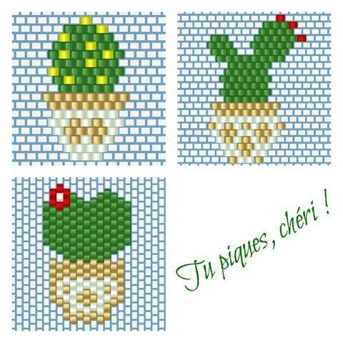 Mon prochain projet piquant concerne les créations de @monpetitbazar (motif déjà posté auparavant), @lili_azalee (motif du bas) et @lapetiteepicerie (motifs du haut), revues à ma sauce  #cactus #cactaceae #cactees #jenfiledesperlesetjassume #perles #bead