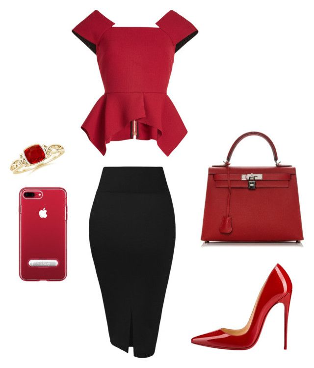"""Bez naslova #4"" by amina22051 ❤ liked on Polyvore featuring Roland Mouret, Christian Louboutin and Hermès"