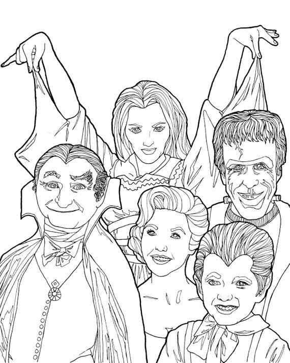 The Addams Family Coloring Page Family Coloring Pages Vintage Coloring Books Family Sketch
