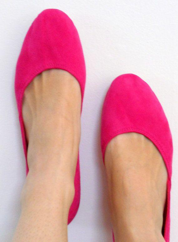 MAYA  Ballet Flats  36 & 37 Fuchsia suede by lolliette on Etsy, $79.00