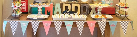 Vintage race car party theme flags garland on Etsy, $20.00