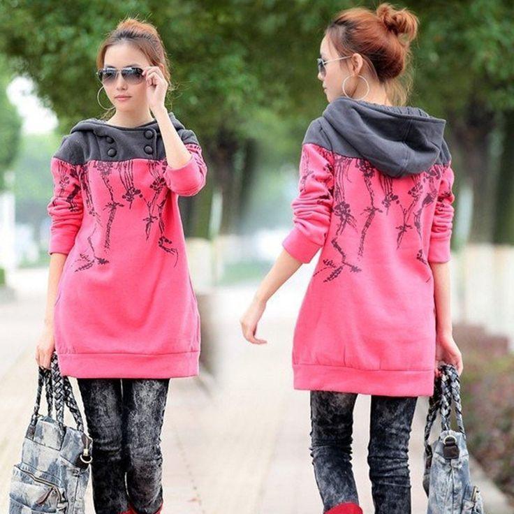 las mujeres de la camiseta 2015 sudaderas Nueva marca de otoño / invierno de las mujeres suelta el diseño largo chándales espesantes Sudaderas mujer # 1328