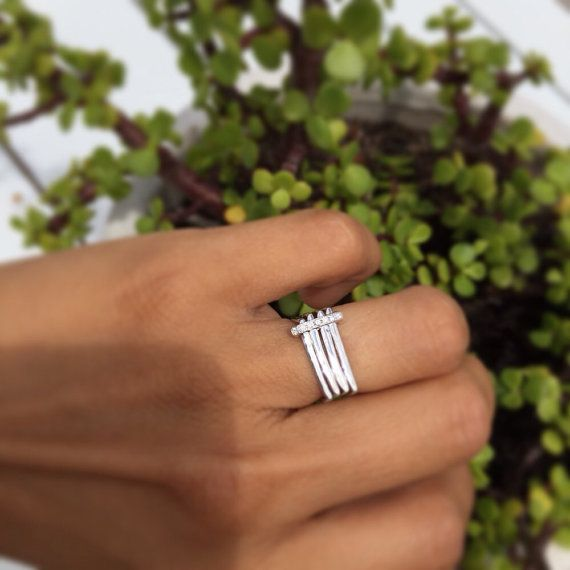 Square engagement ring modern engagement ring by Florencehandmade