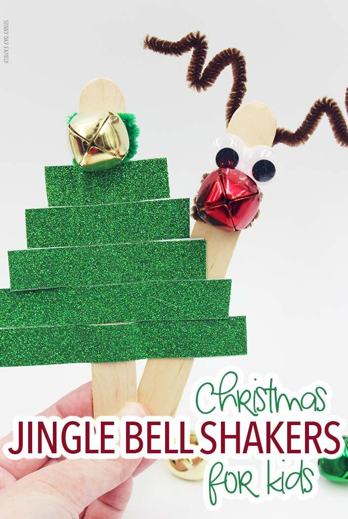 Make Rudolph & Christmas Tree jingle bell sticks for tons of Christmas music fun! These easy Christmas crafts are perfect for preschool, Christmas caroling, or just for fun. Super cute and anyone can make them!