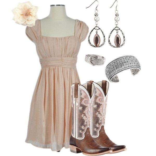 """""""Peachy Pink"""" by rinergirl on Polyvore -- not in love with all the pieces, but it's such a cute way to dress up """"cowgirl"""" style! :)"""