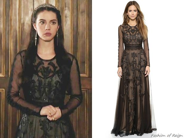 """fashion-of-reign:In episodes 2x14 (""""The End of Mourning"""") and 2x16 (""""Tasting Revenge"""") Queen Mary wears this Marchesa Voyage Embroidered Long Sleeve Gown ($995)."""