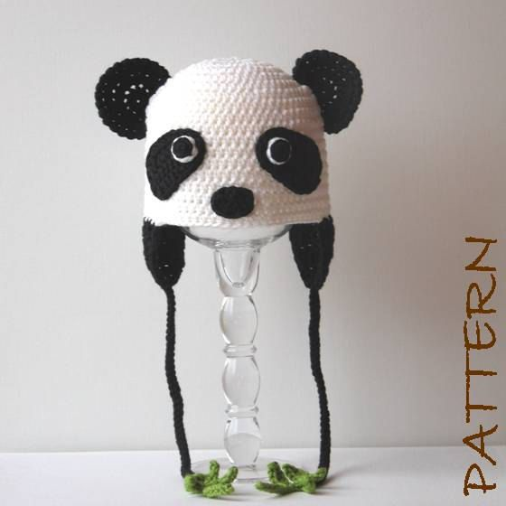 Crochet Animal Hat Pattern - Penelope the Panda Earflap Critter Hat - 4 sizes (6 months to adult). $7.95, via Etsy.