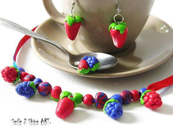 Strawberry necklace-strawberry earrings-berry by Smile2ShineArt