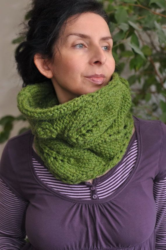 Hand knit leafy cowl wrap knitted neckwarmer