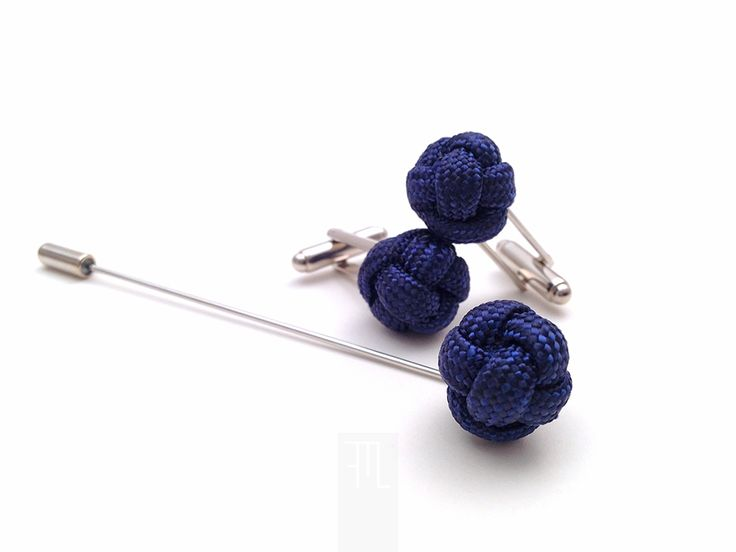 Men lapel pin and cufflink set in classic blue paracord rope, made in Italy by FMLdesign.