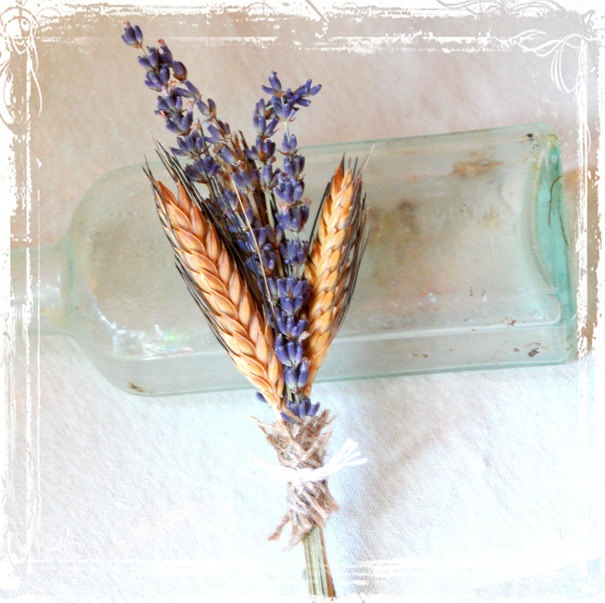 Lavender And Wheat Boutonniere - Lovely Aroma - Old World - European Style Weddings - French, English, Provence, Country - Old Fashioned. $12.00, via Etsy.