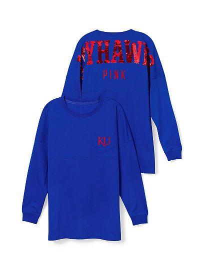 University of Kansas Bling Varsity Crew PINK