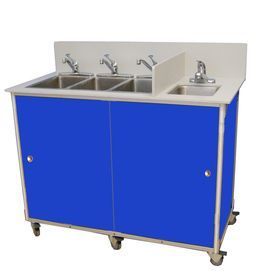 Monsam Blue Quadruple-Basin Stainless Steel Portable Sink Ns004 Blue