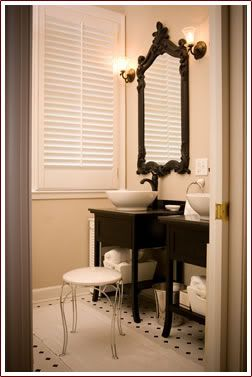Black, white, cream bathroom.