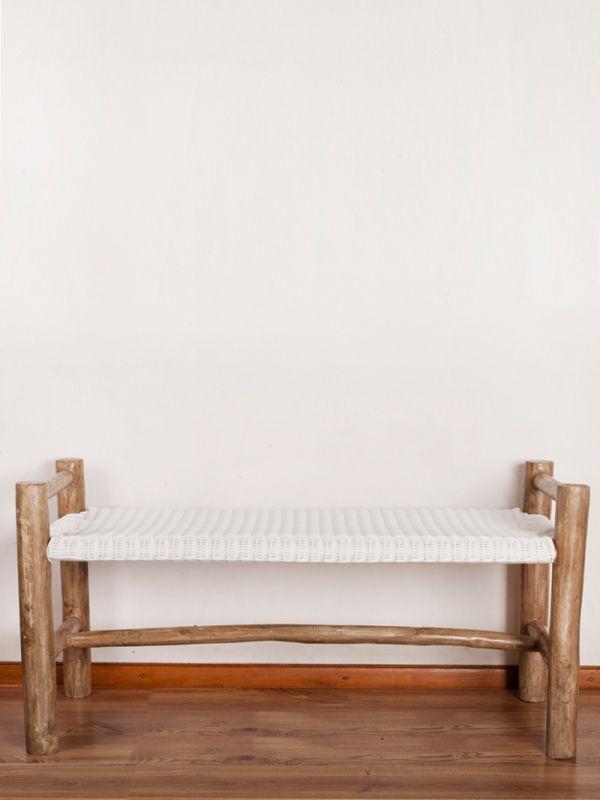 nagarey | Products - Kursi & Stool - Sancho Bench - White Antique Grey