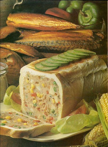 Perhaps the worst vintage food delight I've encountered so far...bread loaf 'surprise'  SURPRISE!