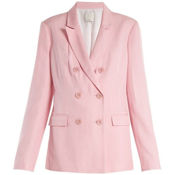 Tibi Steward double-breasted faille blazer ($595) ❤ liked on Polyvore featuring outerwear, jackets, blazers, light pink, slim blazer jacket, slim fit jackets, slim fit blazer, peak lapel blazer and blazer jacket
