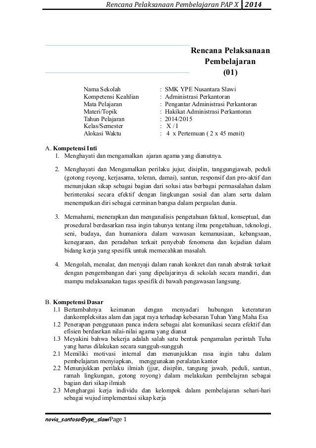 Rencana Pelaksanaan Pembelajaran Pap X 2014 Rencana Pelaksanaan Pembelajaran 01 Nama Sekolah Smk Ype Nusantara Education Personalized Items Person