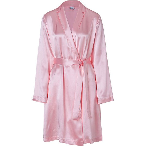 LA PERLA Pink Silk Robe ($130) ❤ liked on Polyvore featuring intimates, robes, pajamas, lingerie, pijamas, sleepwear, pink lingerie, bath robes, pink silk bathrobe and pink waist belt