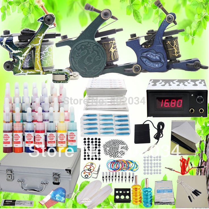 USA Dispatch Professional complete Cheap Tattoo Kits 3 Gun Machines 28 Ink Sets Equipment Needle power supply grips tip K102