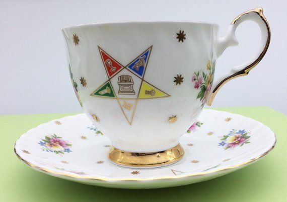 Oes Eastern Star Cup And Saucer By Elizabethan Bone China Eastern Star Cup And Saucer
