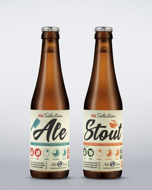 ICA Beverages by Swedish branding agency Sliver — The light and open feel of the label is very inviting. I would definitely be tempted to pluck this off the store shelves.