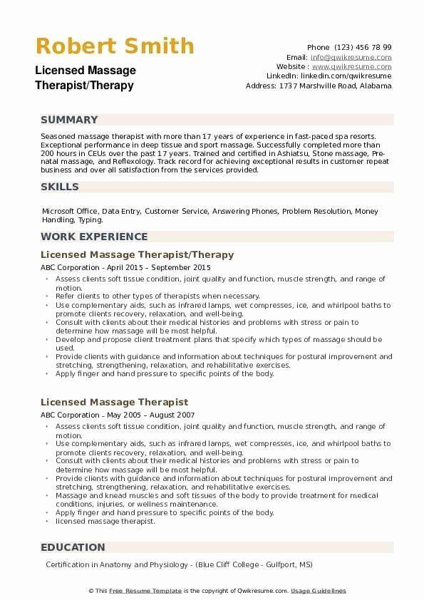 Entry Level Massage Therapist Resume Luxury Licensed Massage Therapist Resume Samples Job Resume Examples Job Resume Samples Resume Examples