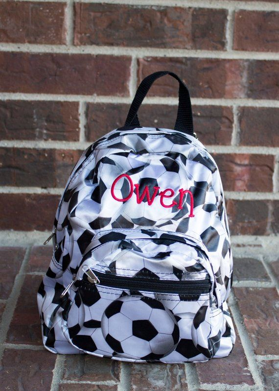 Monogrammed Toddler Baby Backpack - Mini Satin Microfiber Soccer Ball  Napsack - Personalized with Embroidered Name or Initials 619c6f7caedbd