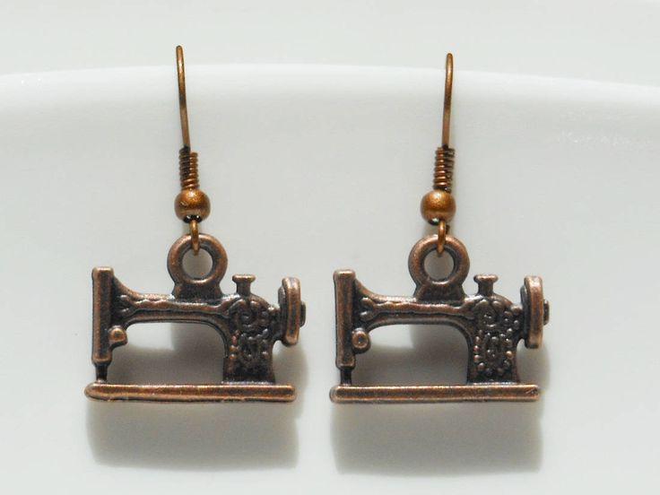 Sawing earrings jewellery, Copper earrings. by akcrystalbead on Etsy