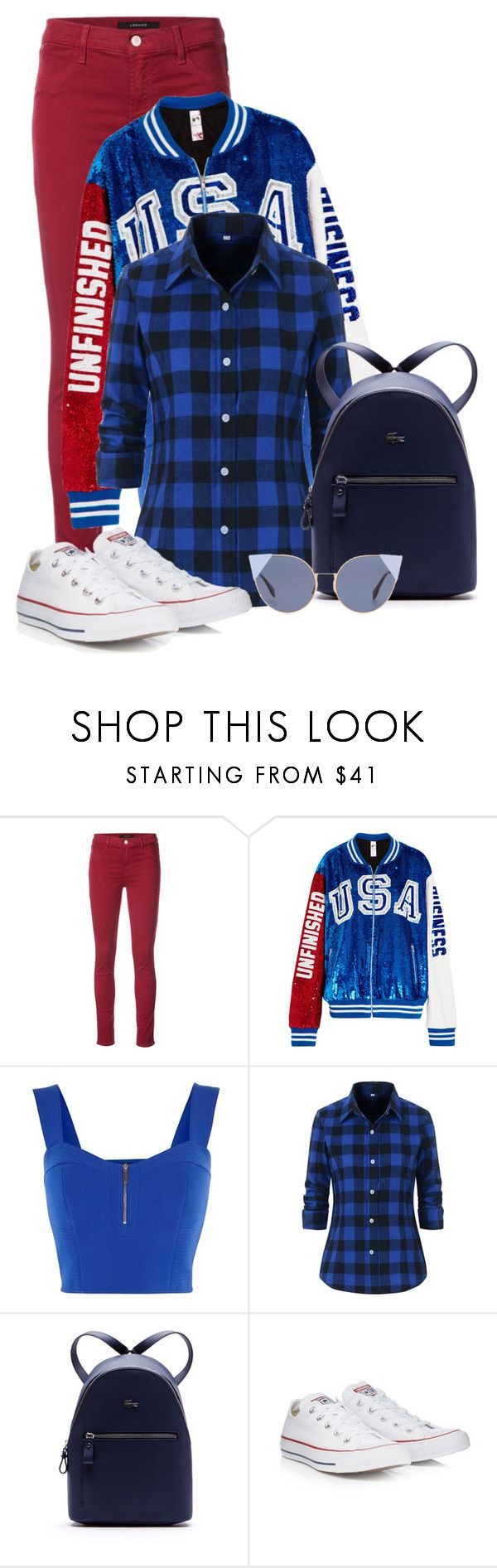 """""""USA (bomber jacket)"""" by vivienlacroix ❤ liked on Polyvore featuring J Brand, Ashish, Karen Millen, Lacoste, Converse and Fendi"""