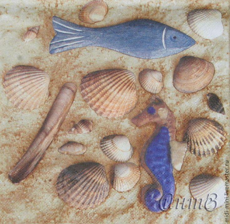Купить салфетки декупаж ракушки море песок пляж лето принт - салфетки, Декупаж