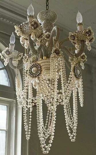 Shabby Chic Pearl Chandelier
