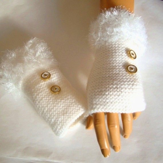 Hand Knit  White Gloves Fingerless Arm Warmer Adorned  by Pasin, $32.00