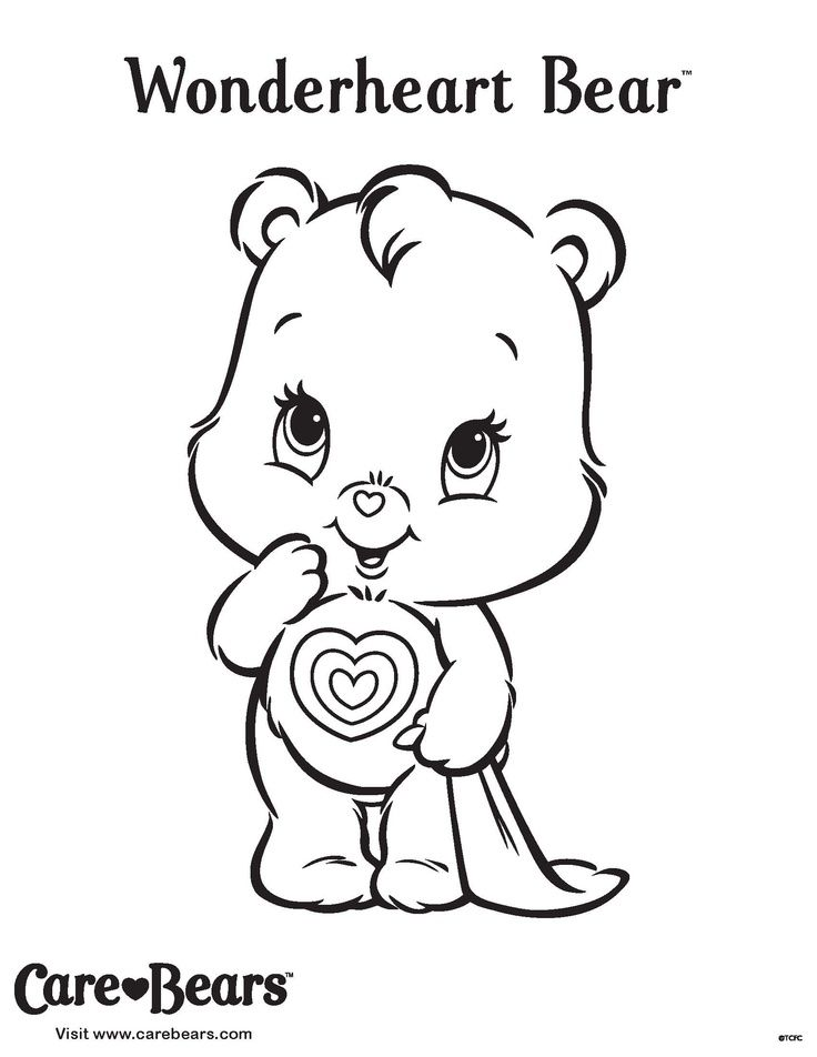 Cute Tenderheart Bear In Care Bears Free Coloring Sheet For Kids