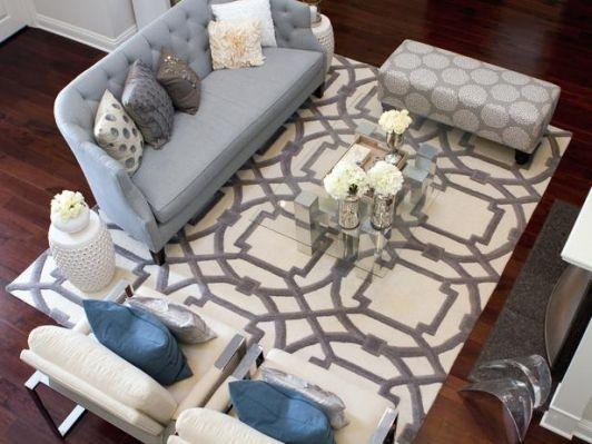 Grey And Ivory Arabesque Rug