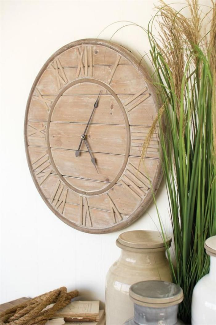 grande horloge murale, grand cadrant en bois avec chiffres romains